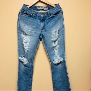 Gap low rise flare distressed jeans